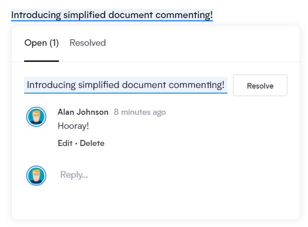 Comments Screenshot